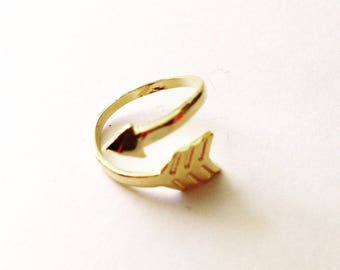 Fine geometric gold filled ring gold plated arrow ring