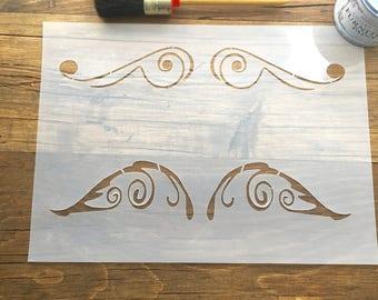 Scrollwork Stencil, Scroll Stencil, Corner Elements, Scroll Border, Old Scroll Stencil, Border Element, Design Elements, Elements1