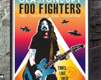 Foo fighters glastonbury music concert poster. Wall decor art quality print. Unframed
