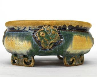 Quatrefoil Shaped Bonsai Pot with Floral Motif Accents and Scrolled Feet - Garden Planter Pot