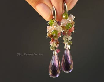 Amethyst, Tourmaline, Peridot Gemstone Earrings, Amethyst Drop Earrings, Silver Plated Ear Wires