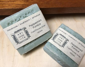 Peppermint Foot Scrub Soap with cedarwood, handmade in winnipeg MB, cold process soap, all natural soap, art soap, cocoa butter