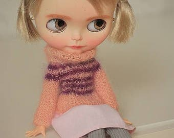 FREE SHIPPING - Mohair sweater for Blythe doll, Knitwear for Blythe, Sweater for Blythe doll