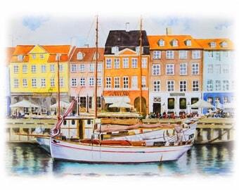 Nyhavn Copenhagen Watercolor Art Print