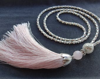 Long Tassel Necklace, Long Pink Necklace, Pink Bead Necklace, Bead Tassel Necklace, Blush Pink Necklace, Summer Necklace, Tassel Necklaces