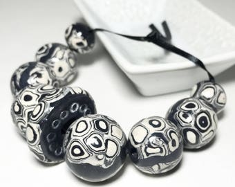 Large Handmade Round Polymer Beads With Spots And Black Stripes, Handmade Polymer Clay Bead Set, Dark Gray And White Abstract Beads, Ethnic