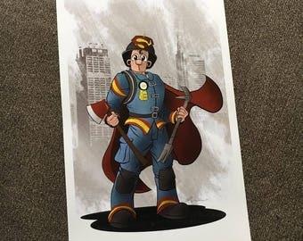 Superman Firefighter Print