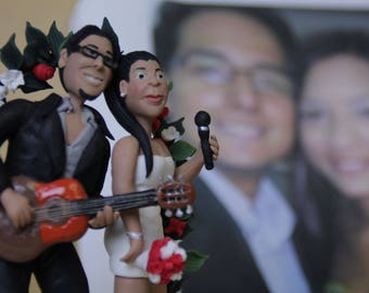 Wedding cake topper Guitar player Custom wedding cake topper. Wedding keepsake. The bride and groom. decoration. Party Supplies. musicians