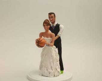 Wedding cake topper Basket ball player wedding, Basketball wedding cake topper- Customizable Wedding Cake Topper- Personalized basketball