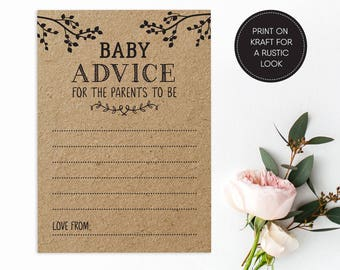 Printable Baby Advice Card/ Baby Shower Game/ Advice Card/ Baby/ PDF/ Instant Download/ Baby Barker suite #058