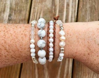 Pearl/Leather Bracelet Set of 4 w/chan luu style single wrap or knotted pearl bracelet