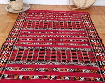 Rug Berber Kilim - azemmour hand made wool - Moroccan handicraft-