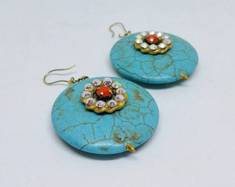 Earrings. Handmade earrings. Turquoise earrings. Statement earrings. Dangle earrings. Semiprecious earrings. Unique jewelry.