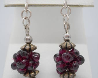 Vintage Jewelry Earrings Garnet and Sterling Silver .925