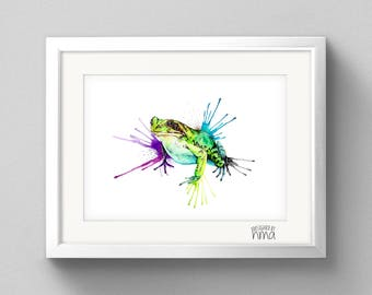 A4 Frog Watercolour Print