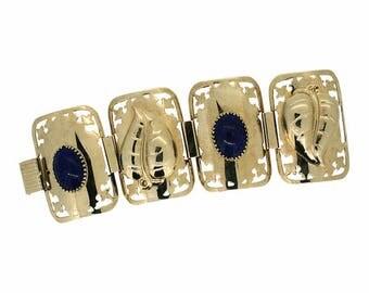 1960s Wide Blue Glass Cabochon Vintage Bracelet