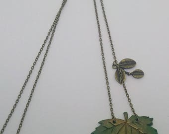 Bronze necklace with maple leaf