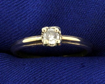 Vintage 1/5ct Solitaire Diamond Ring in 14k Gold