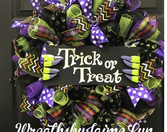 Halloween Wreath, Trick or Treat Wreath, Frankenstein Wreath, Handmade, Halloween deco mesh wreath, deco mesh wreath, front door wreath,
