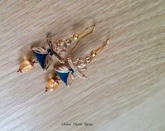 Brass with citrine quartz and blue enamel earrings