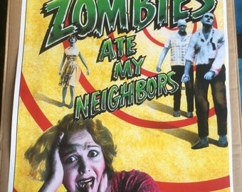 Sale on NOW Genesis zombies ate my neighbours  game Poster Print In A3 #retrogaming please read description