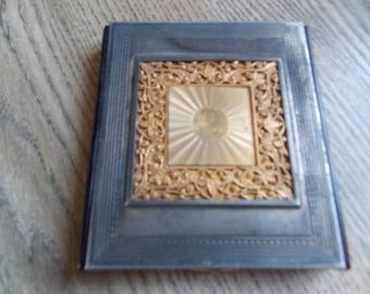 Vintage French Silver plated Compact Mirror
