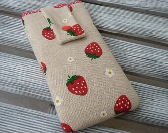 iPhone 6S Plus Case, iPhone 7 Pouch, Fabric Phone Sleeve, iPhone 6S Cover, iPhone 7 Case, Strawberry, iPhone 7 Plus Case, iPhone 5, Wristlet