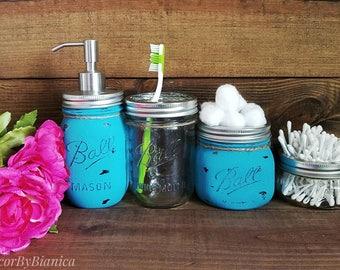 Turquoise mason jar bathroom set, Shabby Chic, Rustic, Summer