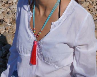 Tassel necklace Long tassel necklace Pink tassel necklace Colorful necklace Summer necklace Boho necklace