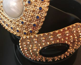 Grosse boucle de ceinture en cuir, ceintures EVAROJE, la perle blanche & la perle noire