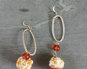 "Earrings ""white cupcake"" orange polymer"