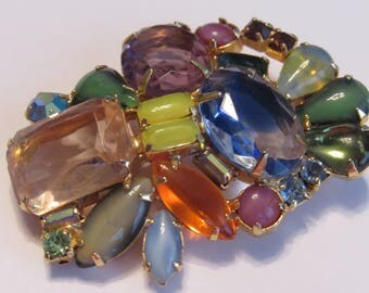 Divine vintage  Delizza and Elster Juliana Fruit Salad 1960s Brooch Various Cabs, stones and gem Cuts