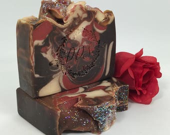 Chocolate Rose - Goats Milk Soap - Gift Bag Included - Rose - Chocolate - Cocoa Butter - Handmade