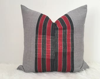 Ila - Red, Black & Grey Striped Vintage African Cloth Aso-Oke Pillow, High Quality Italian Linen Back Fabric, Mud Cloth Style