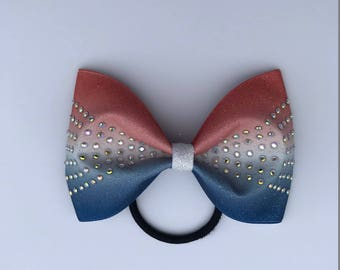 Sublimated Tailless Cheer Bow with AB Crystal Rhinestones - Red, White and Blue