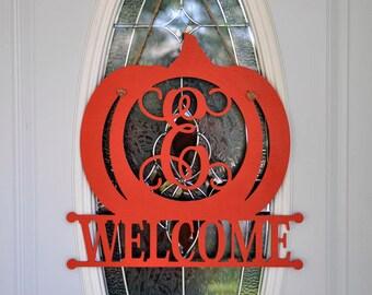 Pumpkin Monogram Fall Door Hanger Welcome Sign