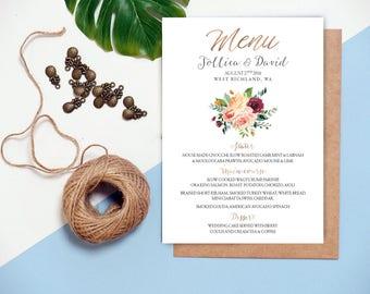 Wedding Menu, Printable Wedding Menu, Printable Wedding Menu Card, Wedding Menu Cards, Wedding Menu Printable, Wedding Menu Template