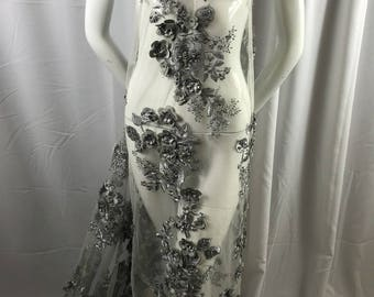 Bridal Fabric - Silver Lace 3D Flower-Floral Embroidered Mesh Beaded By The Yard