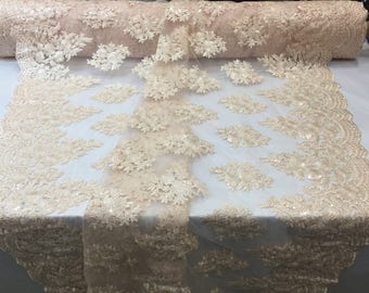 Lt Peach Lace Fabric - Corded Flowers Embroidery With Sequins For Wedding Dress Bridal Veil By The Yard