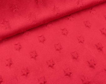 Minky Fleece Star Uni Red (9.90 EUR/meter)
