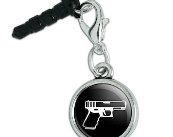 Gun Handgun White on Black  Mobile Cell Phone Headphone Jack Anti-Dust Charm fits iPhone iPod Galaxy