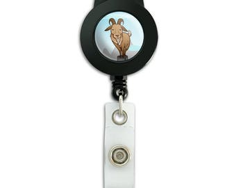 Goat on mountain top lanyard retractable reel badge id card holder
