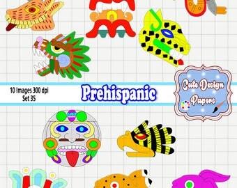 Prehispanic masks, prehispanic images of colors, prehispanic forms