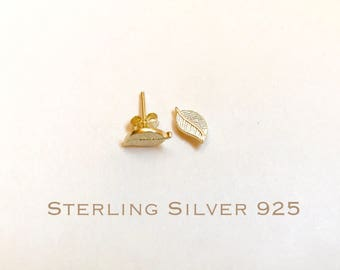 14k Gold over Sterling Silver leaves stud earrings, leaves earrings