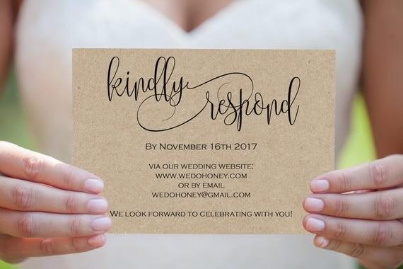 Printable Wedding Postcard - RSVP Card Template - Print on Kraft - Modern Calligraphy RSVP Wedding - Downloadable wedding #WDH812324