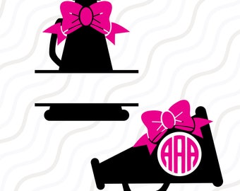 Cheer Megaphone SVG, Cheer svg, Cheer Monogram SVG Cut table Design,svg,dxf,png Use With Silhouette Studio & Cricut_Instant Download