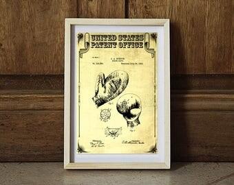 1894 Boxing Glove Patent, Patent Print, Boxing Art, Glove Patent, Boxing Fan Gift, Boxing Glove Art, Boxers Sports Art