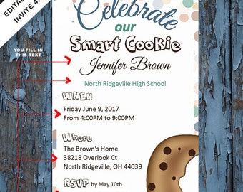 Graduation, Graduation Invitation, Graduation party invite, Graduation announcement, smart cookie,  instant download self editable PDF