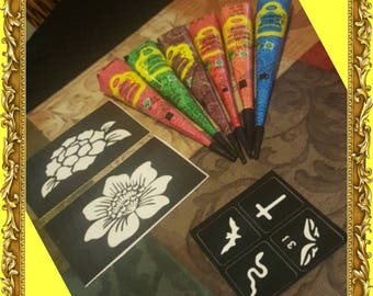 Sale!!! Multi colored Henna Stencil Kit