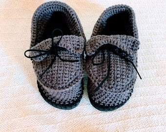 Handmade Moccasins with Flip Flop Soles- Women's Size 7 / Size 8 Crochet Slippers - Gray Moccasin Slippers